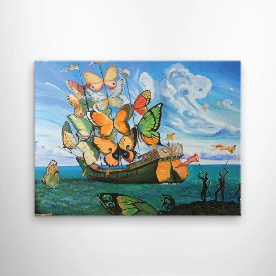 لوحة فنية باسم رحيل السفينة المجنحة